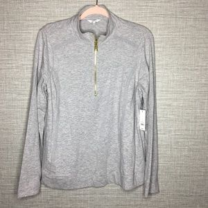 Crown & Ivy Sz L Gray Pullover Shirt Jacket New
